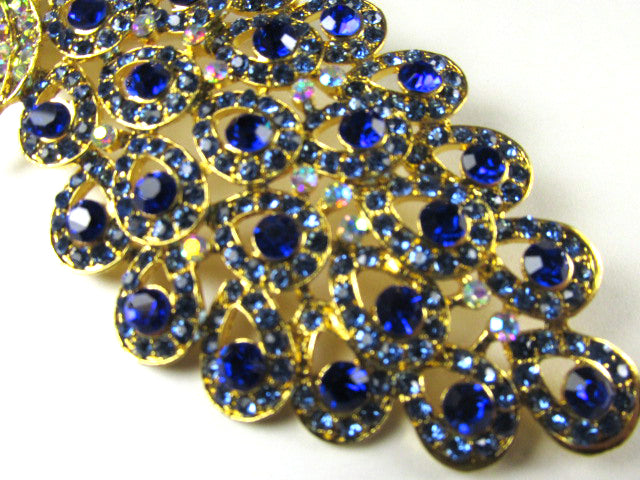 Cobalt Blue, Turquoise and Crystal AB 5 Inch Peacock Brooch in Gold Setting - Odyssey Creations