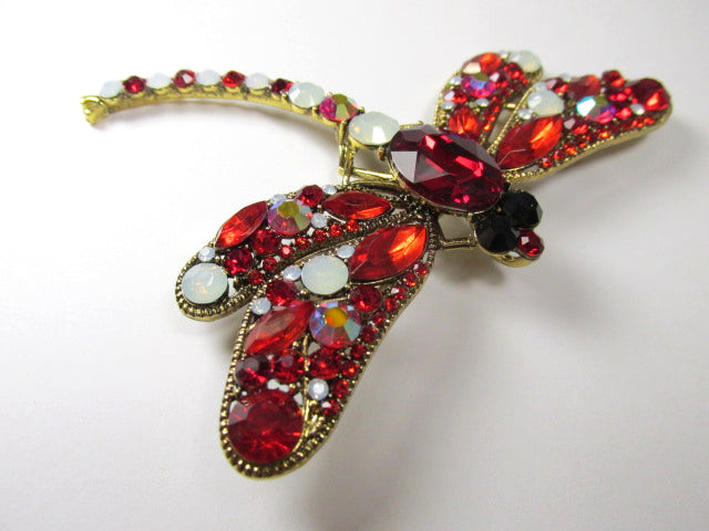 Red and White Opal Extra Large Dragonfly Brooch on Antique Gold - Odyssey Creations