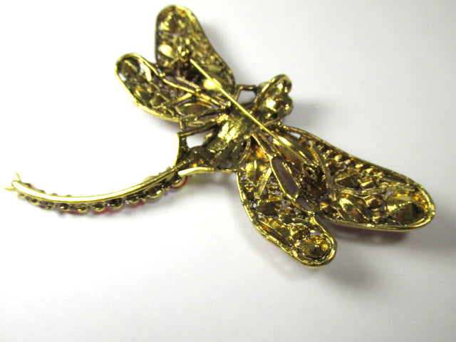 Clear Large Dragonfly Brooch in Gold with Black Eyes - Odyssey Creations