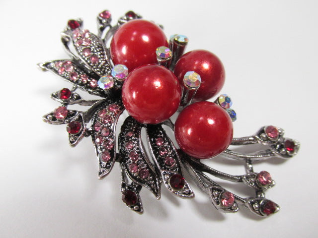 Cranberry Red Large Pearls, Pink and Garnet Crystal Vintage Style Cascading Brooch on Gunmetal - Odyssey Creations