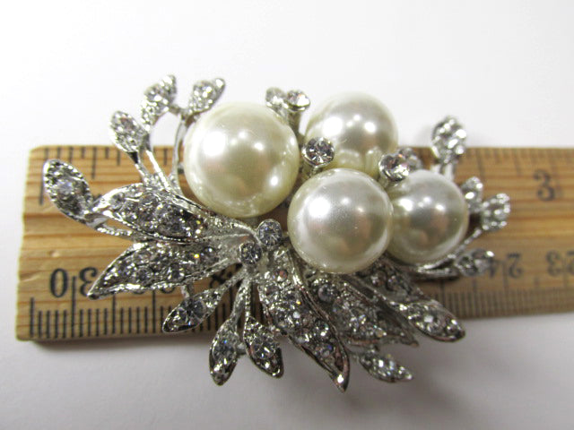 White Large Pearl and Clear Crystal Cluster Vintage Style Silver Cascading Brooch - Odyssey Creations