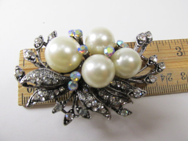 Cream Large Pearl and Clear Crystal Cluster Vintage Style Antique Silver Cascading Brooch - Odyssey Creations