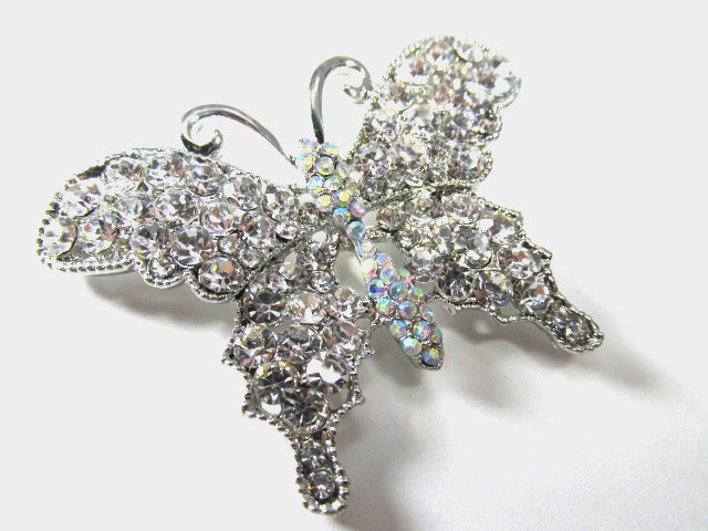 Clear Crystal and Crystal AB 2.25 inch Butterfly Brooch set in Silver - Odyssey Creations