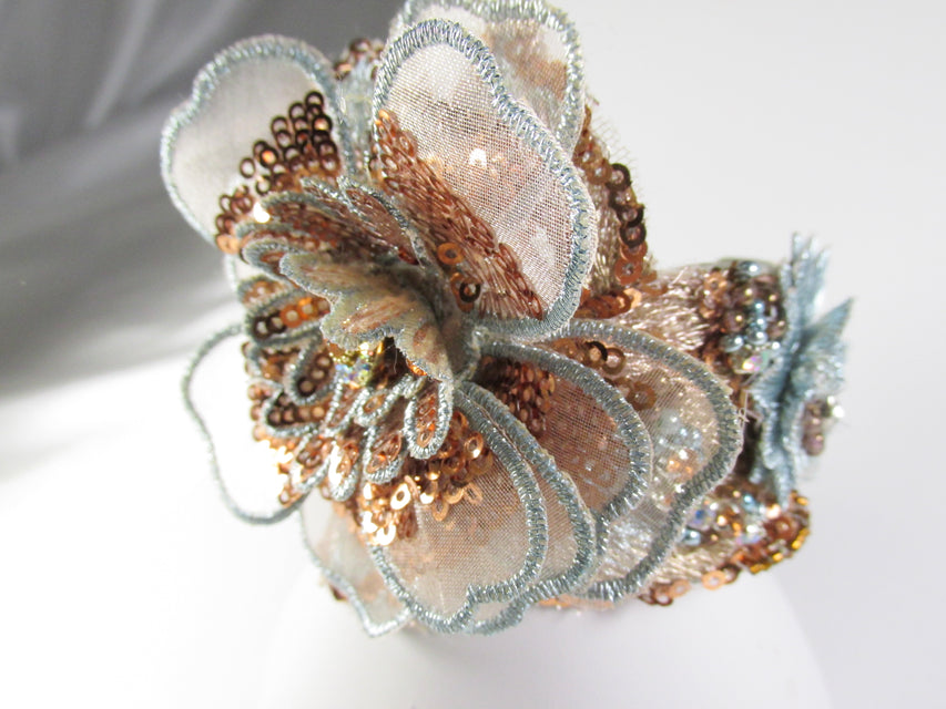 Aqua Seafoam Bronze Copper Statement Beaded Cuff Bracelet or Wrist Corsage - Odyssey Creations