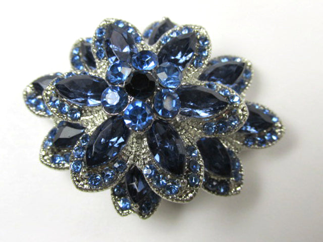 Sapphire Blue Crystal and Silver Triple Tier 2 inch layered 3D Brooch - Odyssey Creations