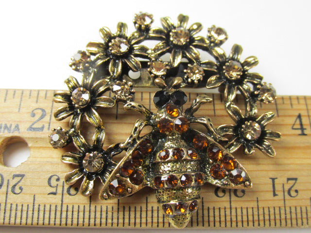 Honey Bees on Flowers Brooches set on Antique Gold in Multicolor, Peridot Green, Aquamarine Turquoise, or Brown Topaz - Odyssey Creations