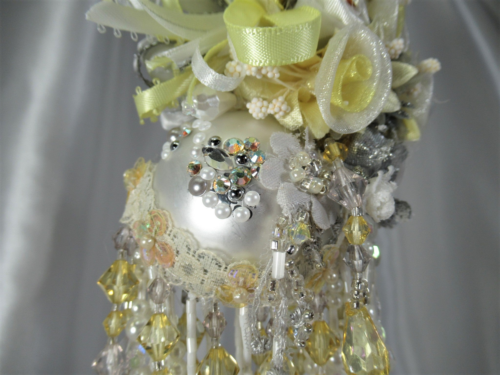 Yellow, White and Gray Detailed Small Victorian Ornament - Odyssey Creations