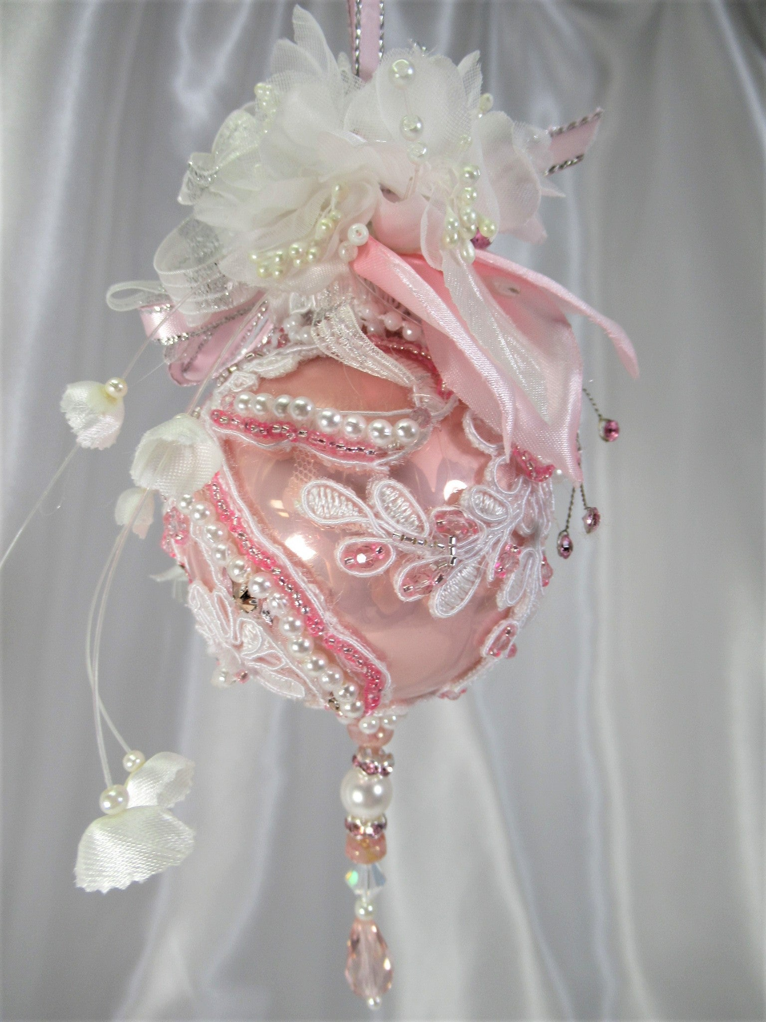 Pink and White Bead Embroidered Applique Christmas Victorian Ornament with Vintage Real Silk Flowers - Odyssey Creations