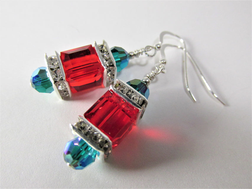 Swarovski Cube Christmas Holiday Earrings in Red Green and Silver - Odyssey Creations