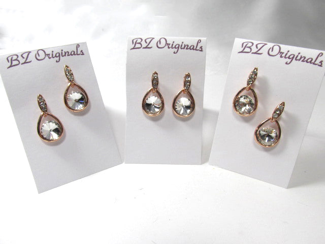 Rose Gold Clear Crystal Short Post Bridesmaid or Everyday Earrings - Odyssey Creations
