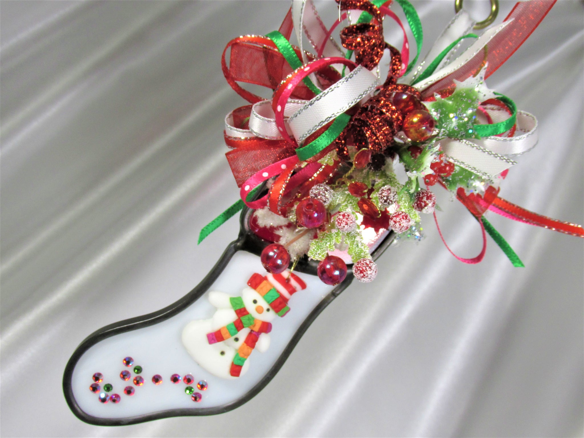 White, Red, Fuchsia and Green Snowman Decorated Stained Glass Stocking Christmas Ornament - Odyssey Creations