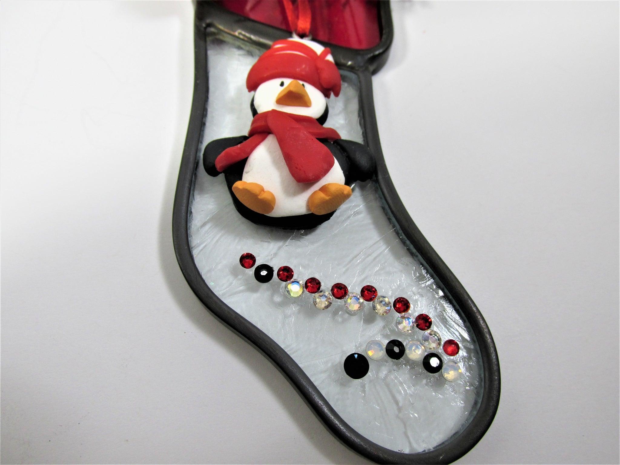 Red, Black and White Penguin Decorated Stained Glass Stocking Christmas Ornament - Odyssey Creations
