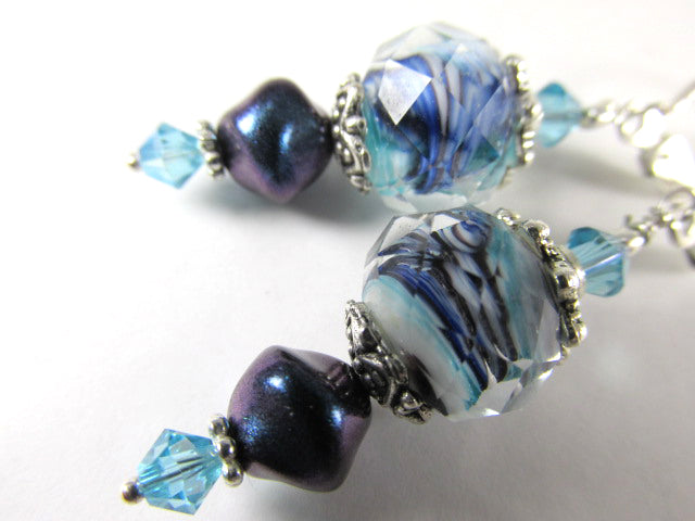 Blue Teal Aqua Turquoise Lampwork Glass and Pearl Earrings on Sterlling Silver Leverbacks - Odyssey Creations