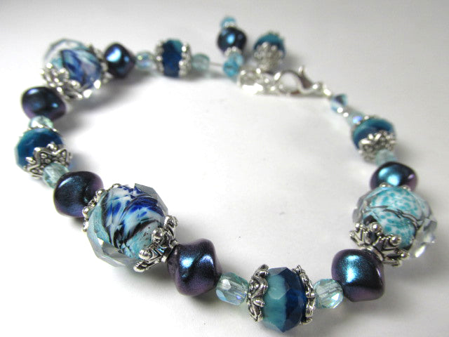 Blue Teal Aqua Turquoise Lampwork Glass Adjustable Bracelet - Odyssey Creations