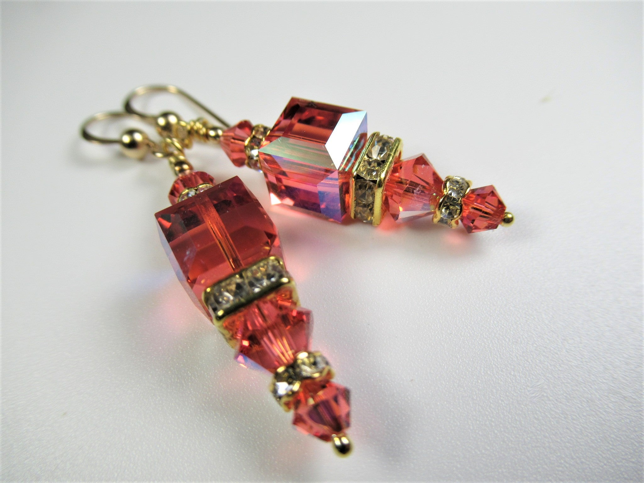 Coral Petite Geometric Style Cube Earrings in Swarovski Crystal Padparascha AB on 14k Gold Fill Earring Wires - Odyssey Creations