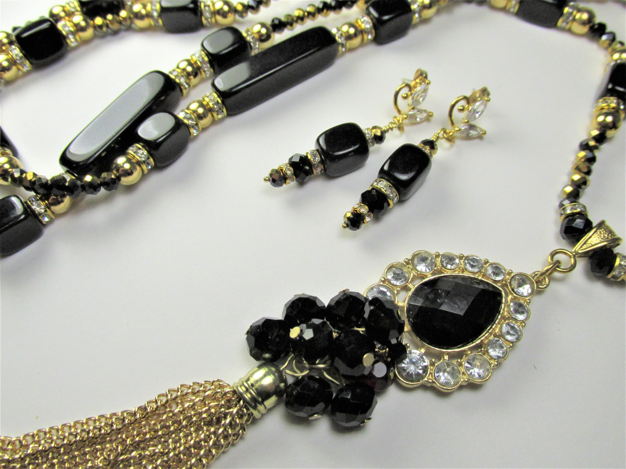 Long Black, Gold 30 Inch Tassel Necklace and Clear Crystal Earring Set - Odyssey Creations