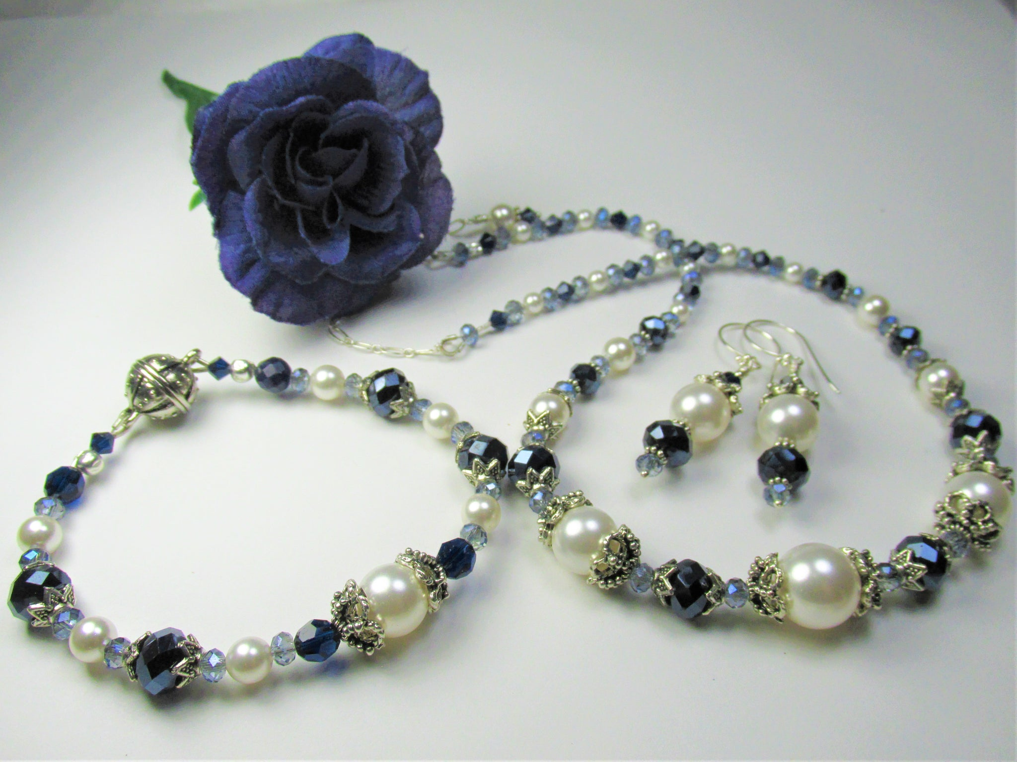 Navy Blue and White Pearl Bridal Necklace, Earring and Bracelet Set - Odyssey Creations