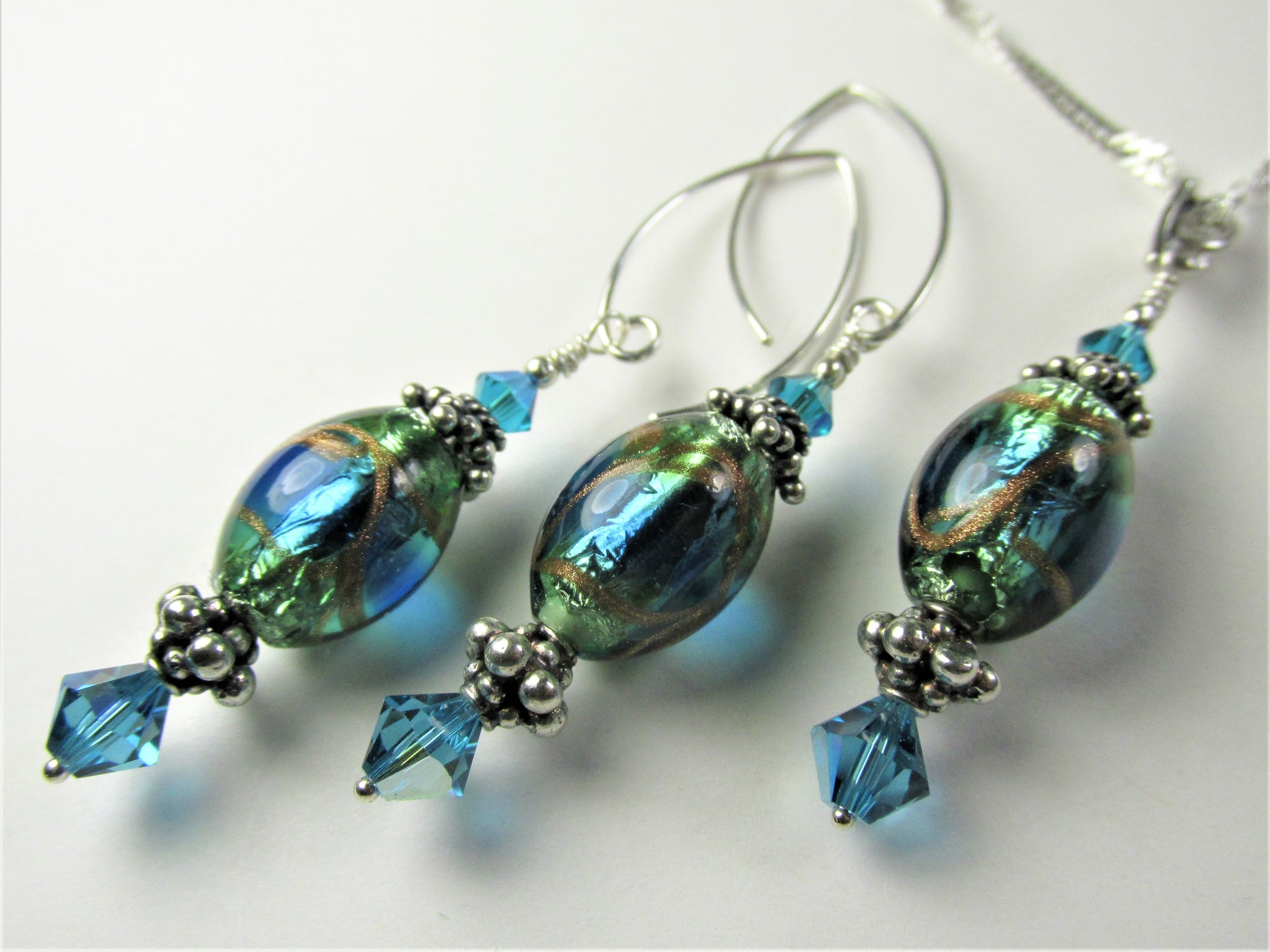 Teal Murano Lampwork Glass Necklace and Earring Set on Sterling Silver - Odyssey Creations