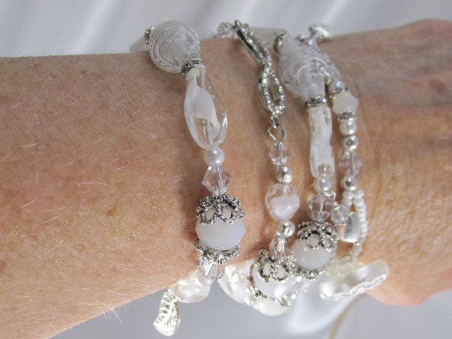 White and Silver Wrap Bracelet, Choker or Anklet with Eternity Link, White Quartz - Odyssey Creations