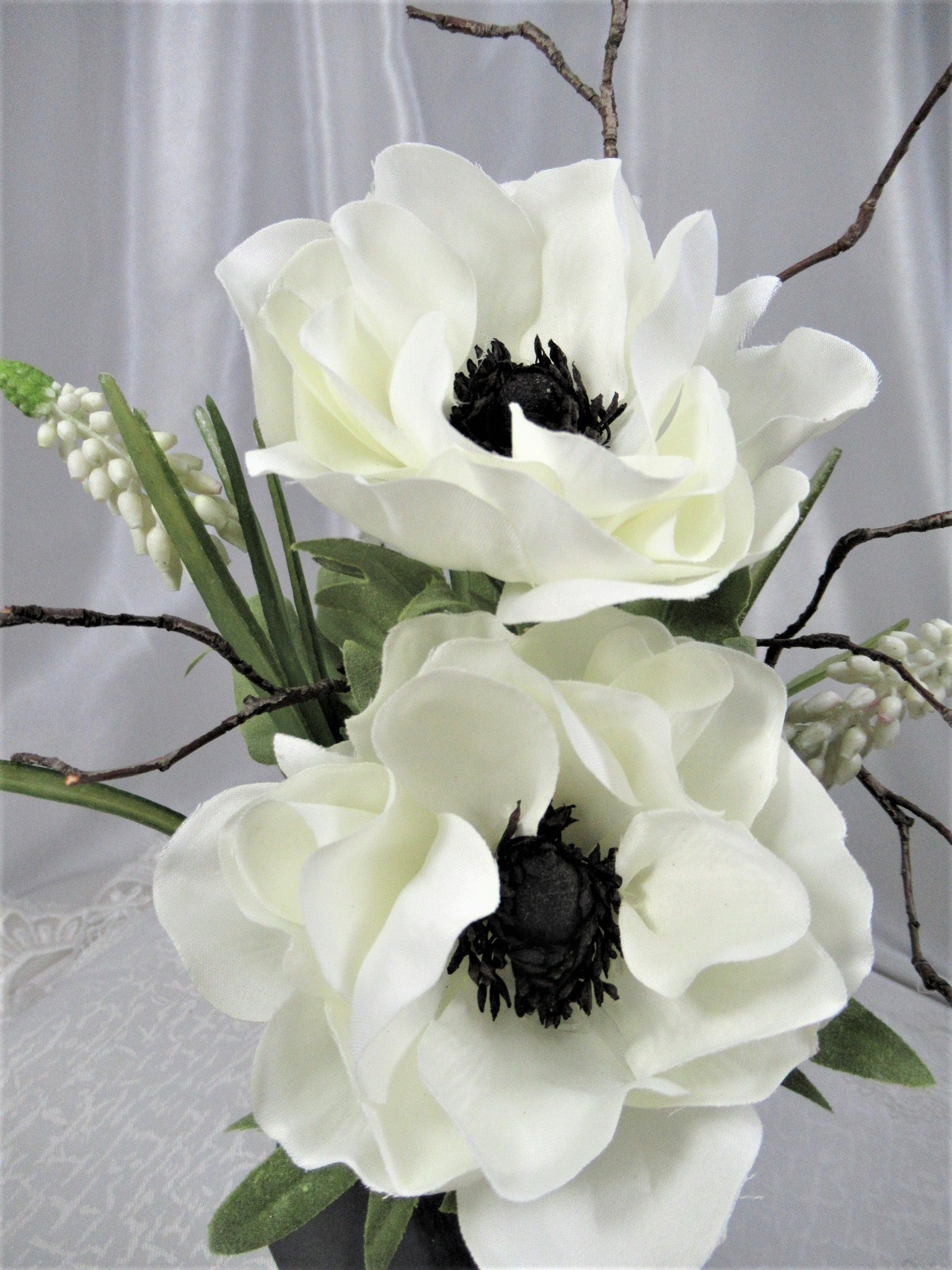 Black and White Poppies with Hyacinth and Natural Branches Small Petite Pot Faux Floral Arrangement - Odyssey Creations