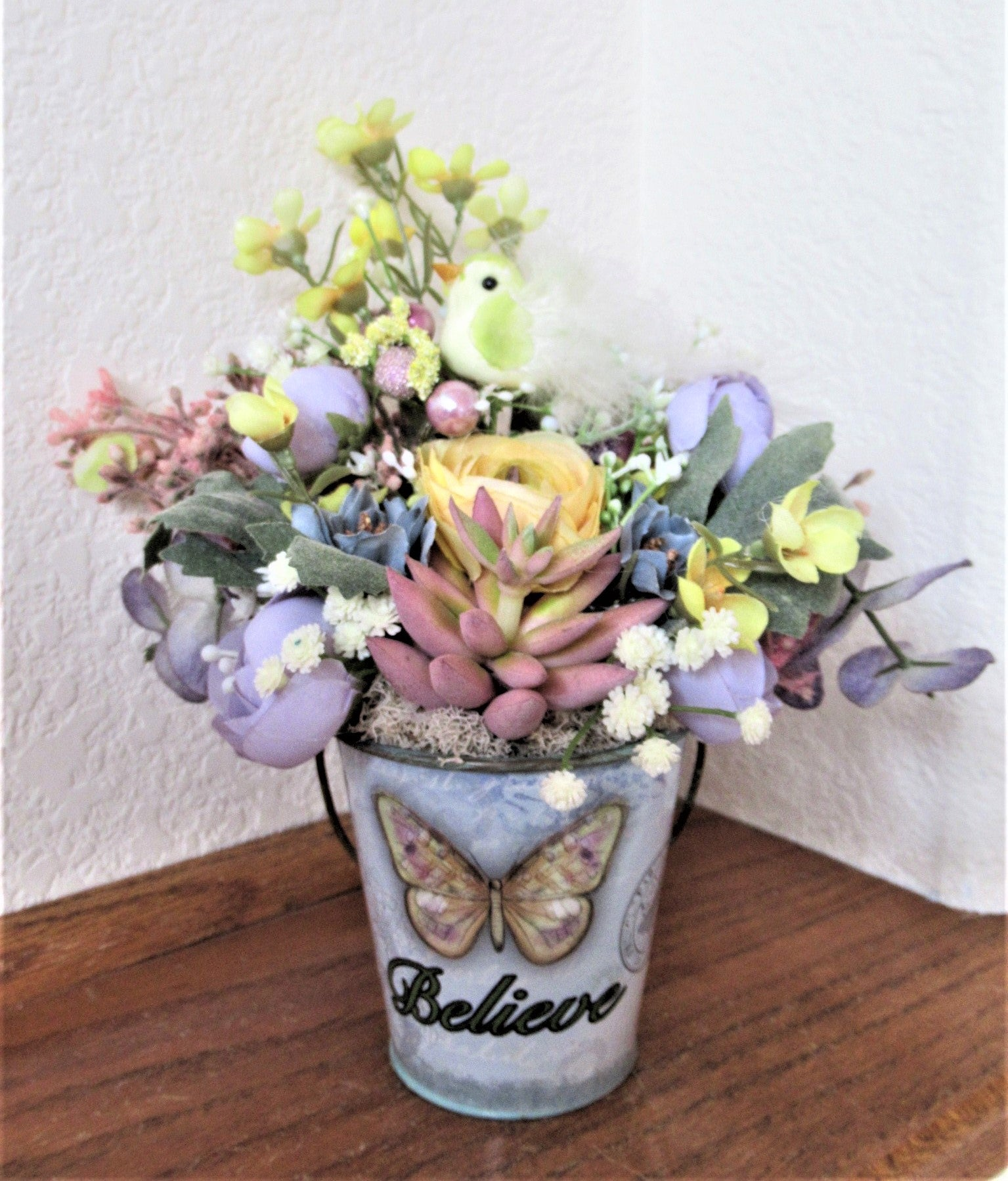 Believe Pastel Small Petite Pot Faux Flower and Succulent Arrangement - Odyssey Creations