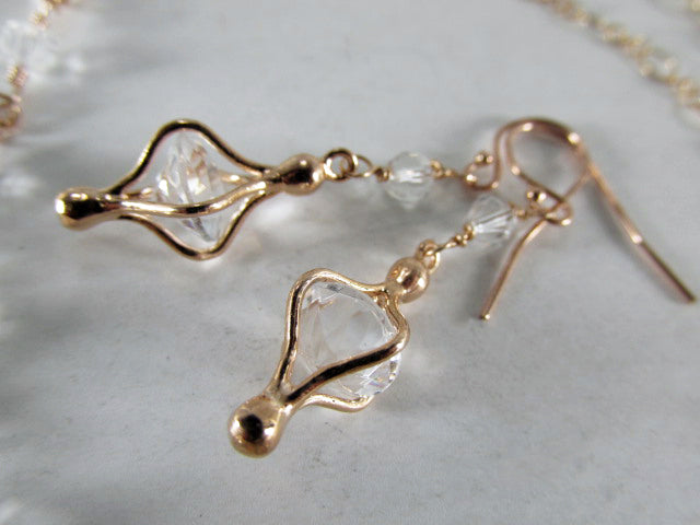 Rose Gold Earrings with Clear Swarovski and Caged Quartz Faceted Chatons - Odyssey Creations