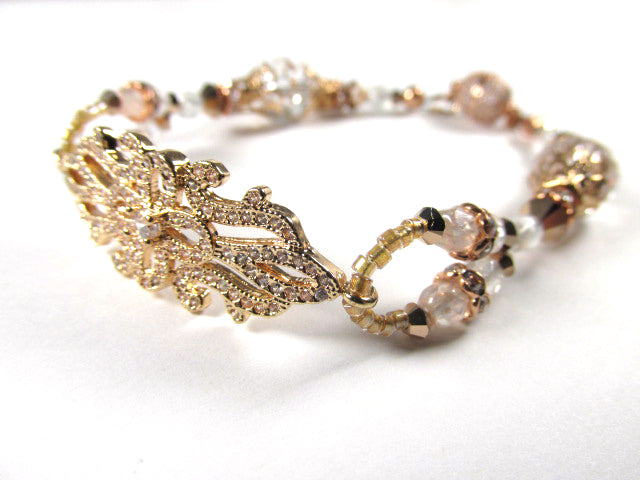 Rose Gold Crystal Filigree Swarovski Clear Crystal and White Czech Glass Bracelet - Odyssey Creations