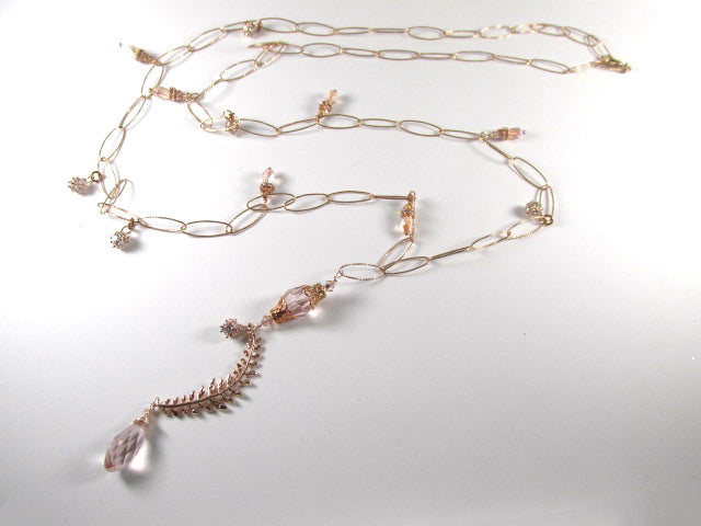Long 37 inch Rose Gold Clear Crystal Feather Necklace - Odyssey Creations
