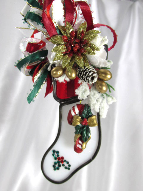 Red, Green and White Candy Cane Stocking Christmas Decorated Stained Glass Ornament - Odyssey Creations