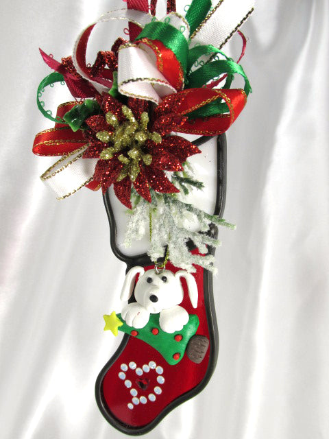 Doggy, Christmas Tree and Heart Christmas Stocking Decorated Stained Glass Ornament - Odyssey Creations