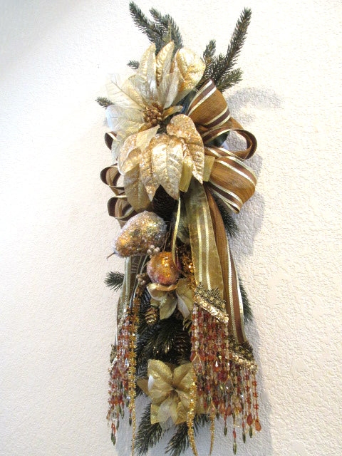 Gold Brown Rust Elegant Victorian Beaded Christmas Holiday Pine and Fruit Vertical Door Swag Wreath - Odyssey Creations