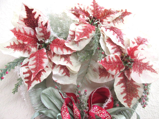 Frosted Red and Mint Green Poinsettia Holiday Silk Vertical Christmas Wreath Door Swag - Odyssey Creations