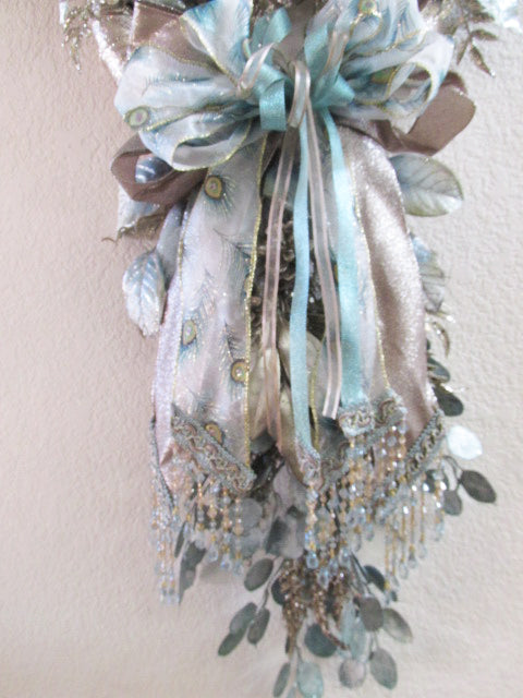 Icy Blue Aqua & Taupe Poinsettia Peacock Ribbon Holiday Silk Vertical Christmas Wreath Door Swag - Odyssey Creations