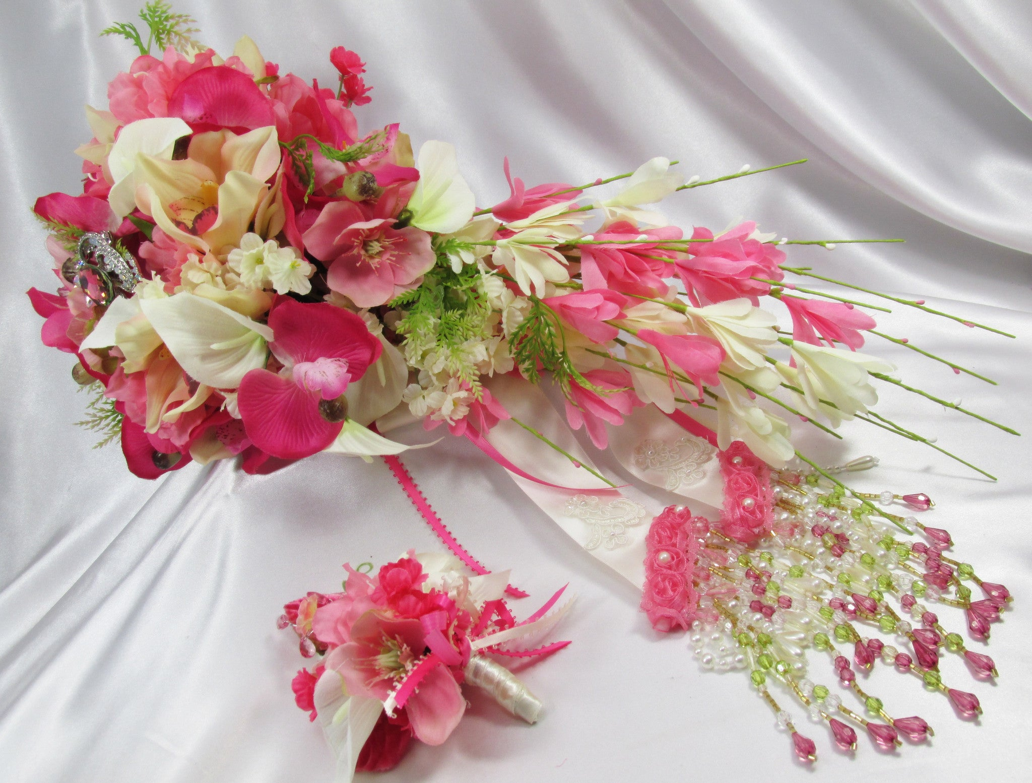 Bright Pink and Ivory Cymbidium Orchids with Lilies, Roses Wrist Corsage and Boutonierre Set - Odyssey Creations