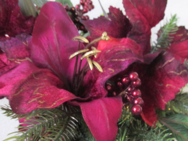 Burgundy Fuchsia and Olive Green Lily Holiday Floral Arrangement - Odyssey Creations