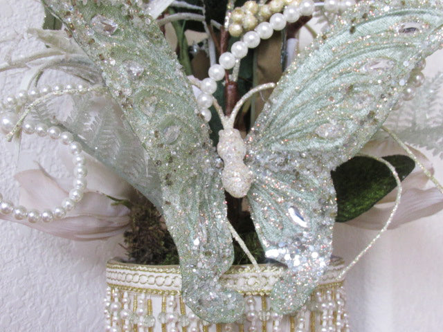 Ivory Mint Green Victorian Butterfly Silk Floral and Succulent Centerpiece Arrangement - Odyssey Creations