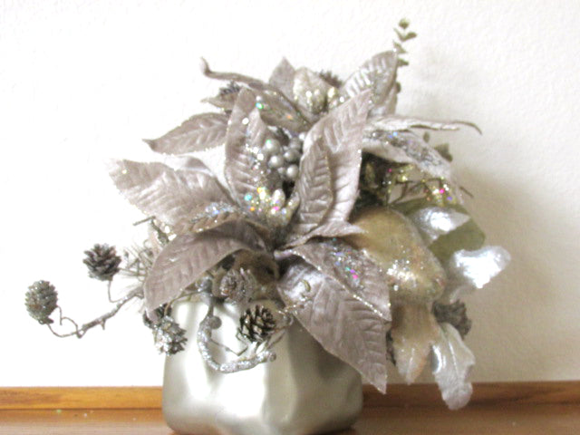 Taupe, Silver and Light Gold Poinsettia and Pine Christmas Holiday Floral Arrangement - Odyssey Creations
