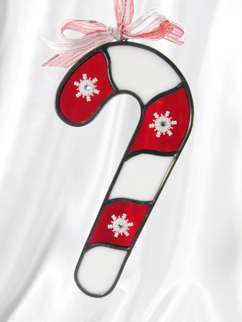 Red and White Stained Glass Candy Cane with Snowflakes Suncatcher or Ornament - Odyssey Creations