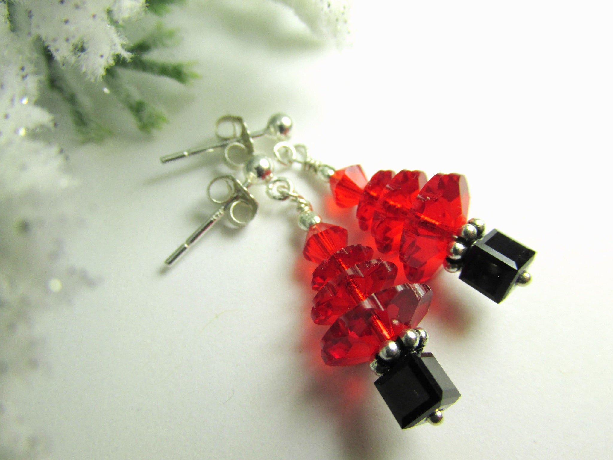 Christmas Tree Holiday Earrings in Swarovski Light Siam Red and Black - Odyssey Creations