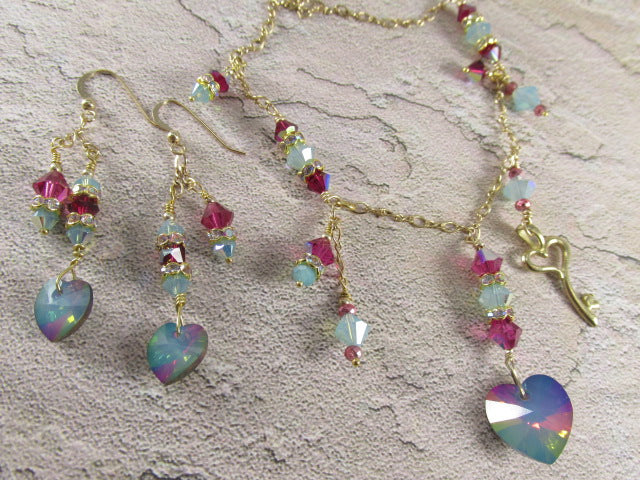 Swarovski Heart Necklace and Earring Set in White Opal Electra on 14k Gold Fill - Odyssey Creations