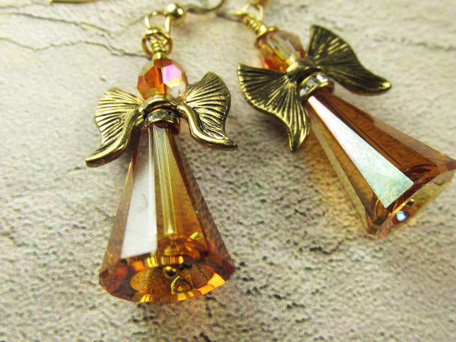 Angel Earrings in Swarovski Crystal Copper on 14k Gold Fill Wires - Odyssey Creations