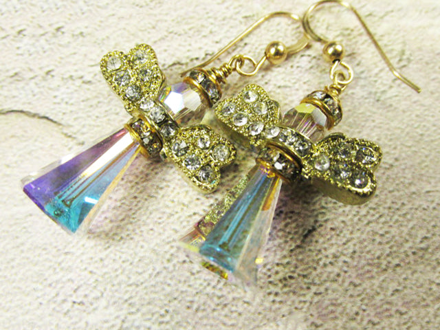 Angel Earrings in Swarovski Crystal AB with Gold Crystal Wings on 14k Gold Fill Wires - Odyssey Creations