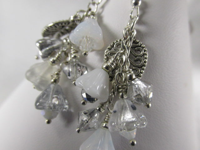 White and Silver Multi-Dangle Earrings with Flowers and  Leaves on Sterling Lever Wires - Odyssey Creations