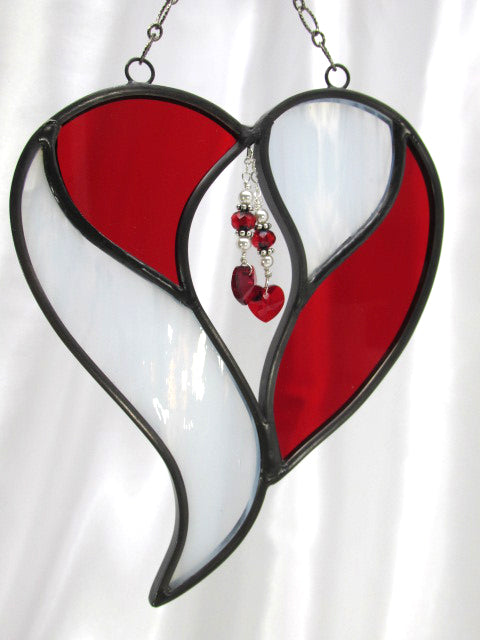 Red and White Two Hearts as One Stained Glass Heart Suncatcher or Bridal Decor - Odyssey Creations
