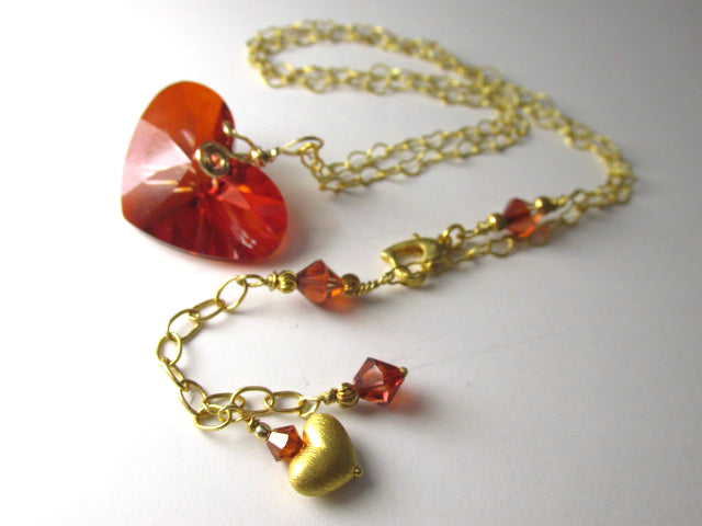 Swarovski Crazy 4 U Red Magma Heart Necklace on 14k Gold Fill - Odyssey Creations