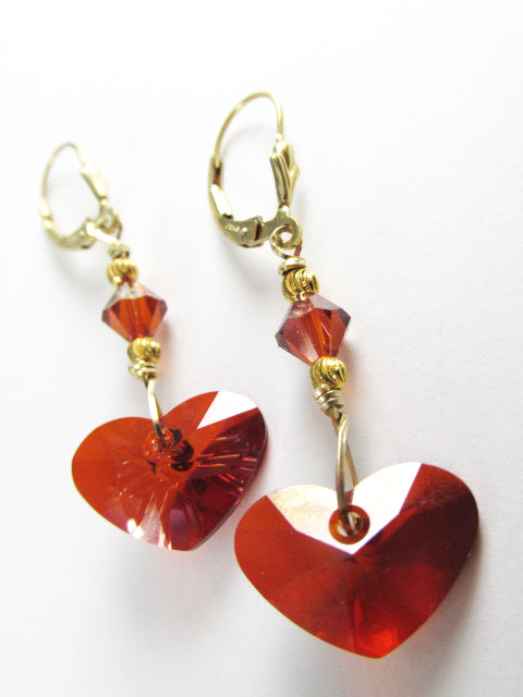 Swarovski Crazy 4 U Red Magma Heart Earrings on 14k Gold Fill - Odyssey Creations