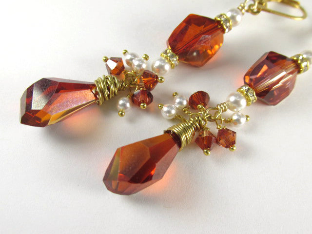 Swarovski Red Magma Crystal and White Pearl Long Earrings on 14k Gold Fill - Odyssey Creations