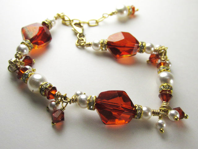 Swarovski Red Magma Cosmic Crystal and White Pearl Bracelet on 14k Gold Fill - Odyssey Creations