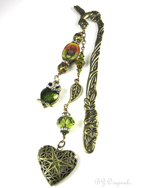 Beaded Brass Hummingbird, Owl and Heart Locket Bookmark - Odyssey Creations