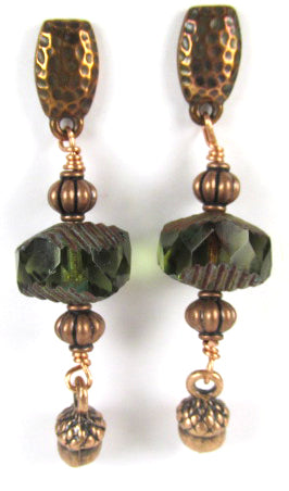 Hammered Copper Post Earrings with Dark Green Wavy Czech Rondelles and Acorns - Odyssey Creations